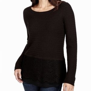 Lucky Brand Black Scoop Lace Trim Knitted Sweater